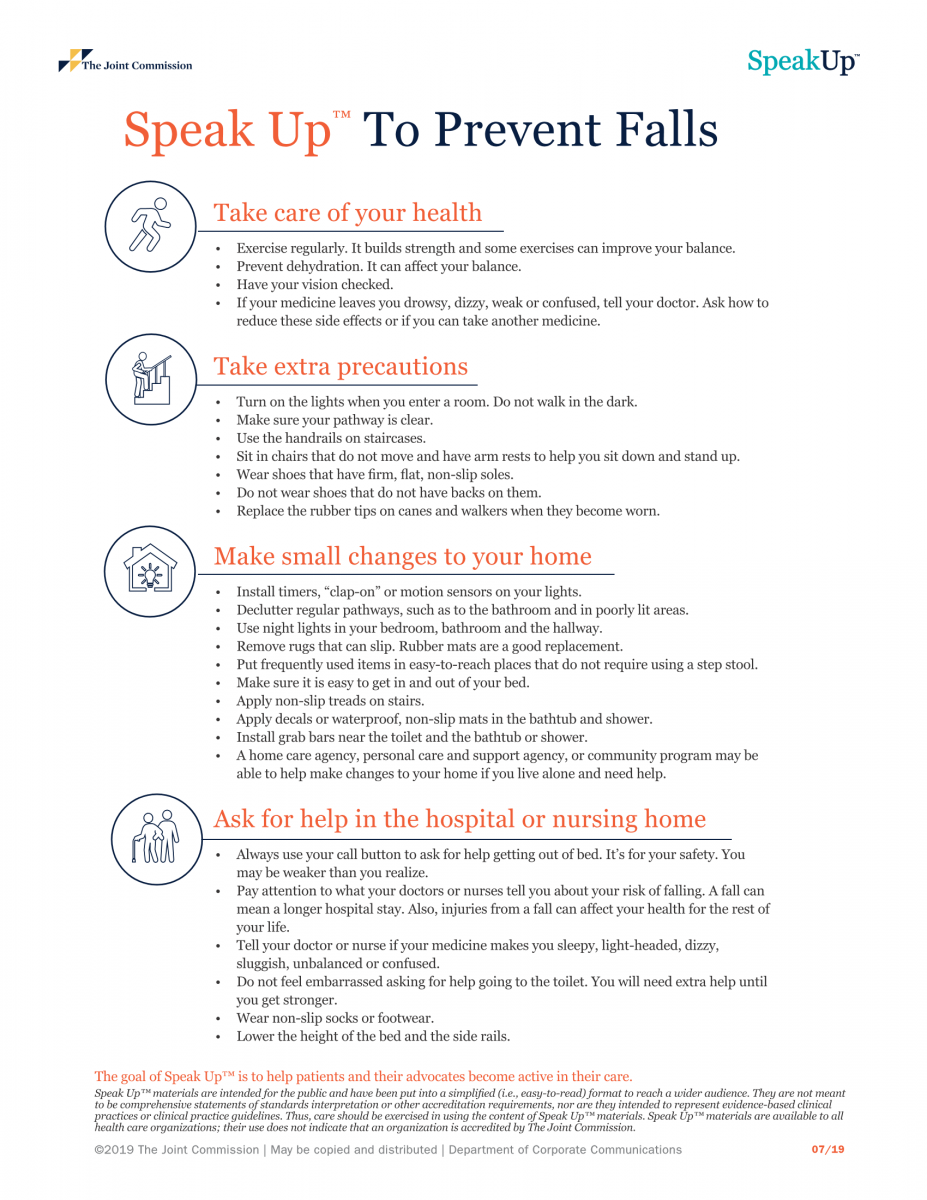 Informational graphic about Speak Up to Prevent Falls
